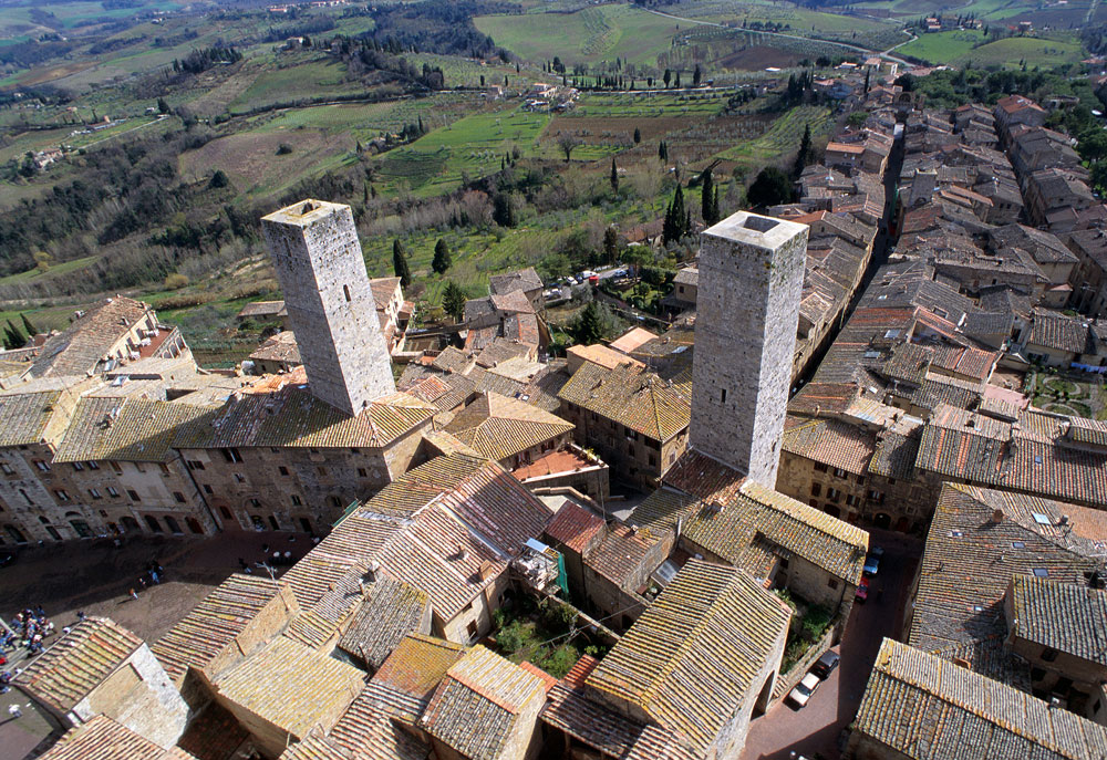 Volterra and San Gimignano helicopter tour